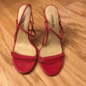 VENUS leather strapped red heels size 6.5